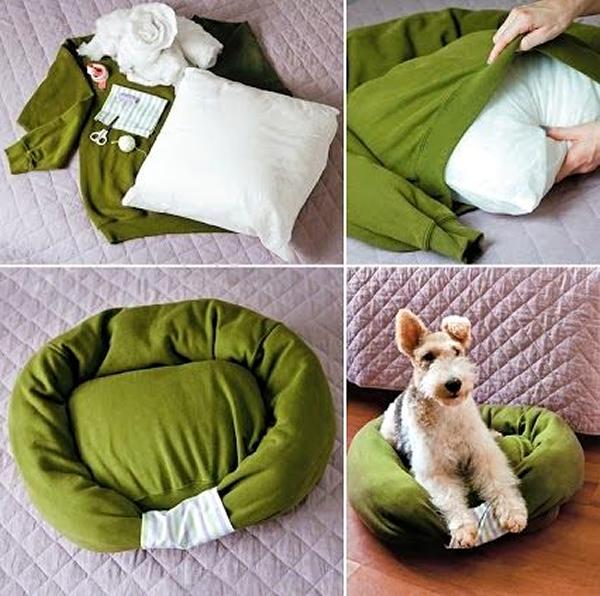 hacer cama para perros con un jersey